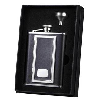 Visol SP Black Leather Flask with Built-in Cigarette Case Essential Liquor Flask Gift Set - 6 ounces
