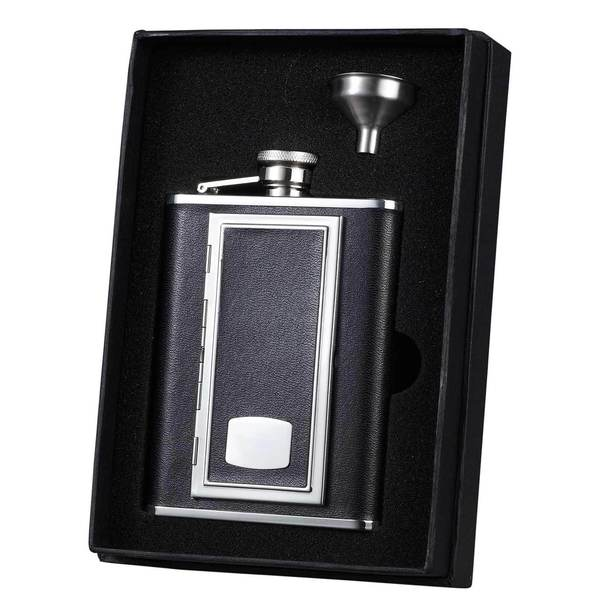 Visol SP Black Leather Flask with Built-in Cigarette Case Essential Liquor Flask Gift Set - 6 ounces