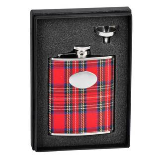 Visol Scrooge Red Plaid Essential Flask Gift Set - 6 ounces
