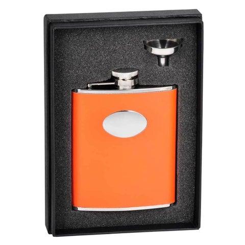 Visol Sunbeam Orange Leather Essential Flask Gift Set - 6 ounces