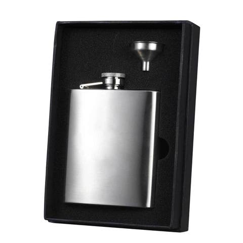 Visol Derek Stainless Steel Essential Liquor Flask Gift Set - 8 ounces - Silver