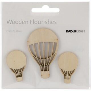 Wood Flourishes 3/Pkg-Hot Air Balloons
