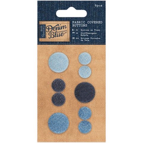Papermania Denim Blue Fabric Covered Buttons 9/Pkg