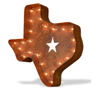 Indoor/ Outdoor 2 ft. Rusted Steel Texas State Marquee Light