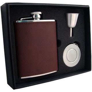 Visol Kenton Brown Leather Stellar Flask Gift Set - 6 ounces
