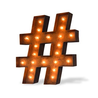Indoor/ Outdoor 2 ft. Rusted Steel Hashtag Marquee Light