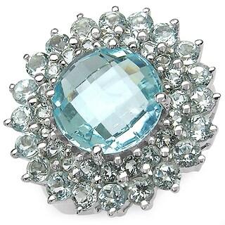 Malaika 11.26 Carat Genuine Blue Topaz .925 Sterling Silver Ring