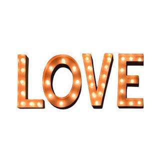 Indoor/ Outdoor Typography 'LOVE' Rusted Steel Marquee Lights