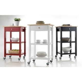 Porch Den Botanical Heights Rutger Wood Wheeled Kitchen Cart