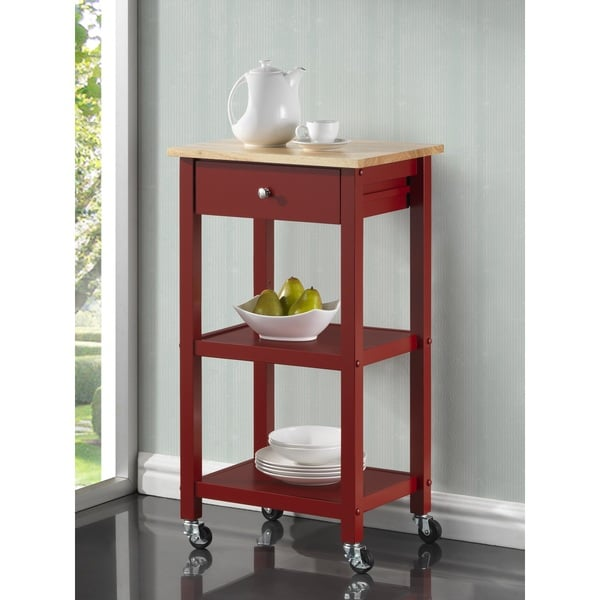 Delightful Wood Kitchen Cart On Wheels   Free Shipping Today   Overstock.com   17882392