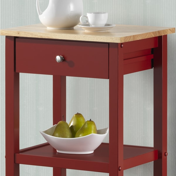 Wood Kitchen Cart On Wheels   Free Shipping Today   Overstock.com   17882392