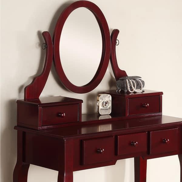 Cherry Wood Makeup Vanity.Shop Ashley Wood Cherry Makeup Vanity Table And Stool Set