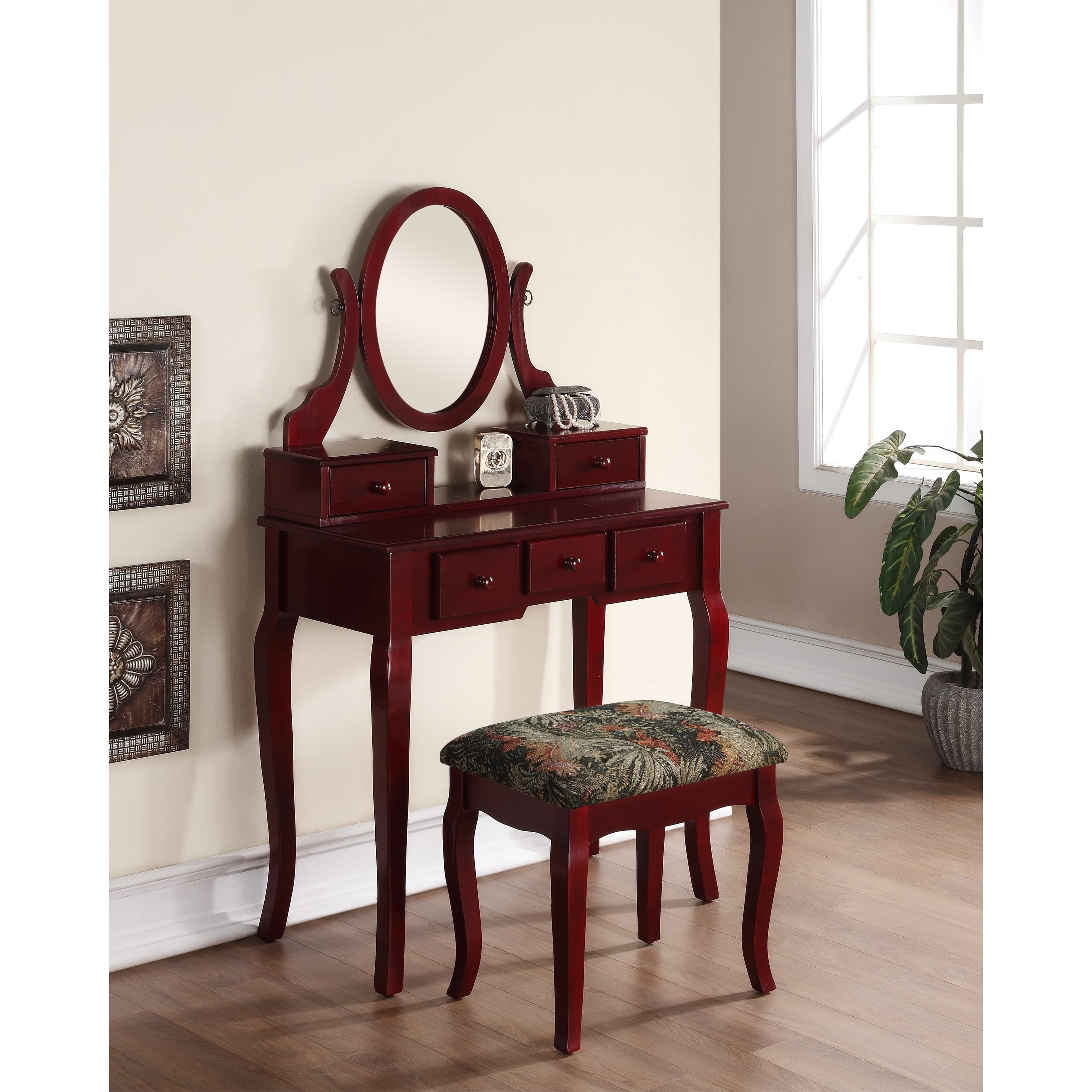 Ashley Wood Cherry Makeup Vanity Table and Stool Set (Che...