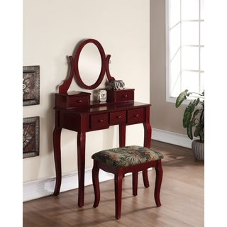 Ashley Wood Cherry Makeup Vanity Table And Stool Set