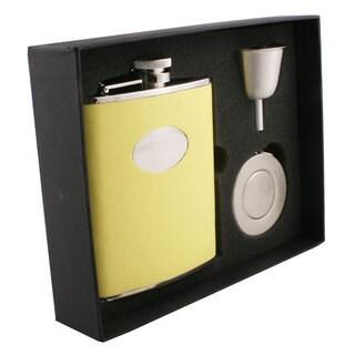 Visol Sunshine Yellow Leather Stellar Flask Gift Set - 6 ounces