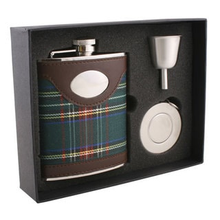 Visol Edinburgh Plaid & Leather Stellar Flask Gift Set - 6 ounces