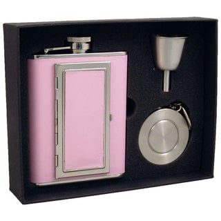 "Visol ""Fiona"" Pink 6oz Flask with Built-In Cigarette Case Stellar Flask Gift Set"