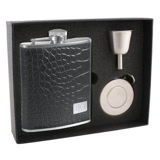 Visol Beau Monde Crocodile Leather Stellar Flask Gift Set - 6 ounce