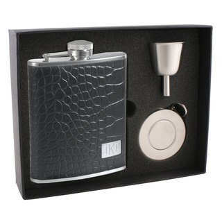 Visol Beau Monde Crocodile Leather Stellar Flask Gift Set - 6 ounce