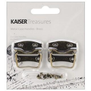 "Treasures Metal Case Handle W/1.25""X.875"" Backplate 2/Pkg-Antique Brass"