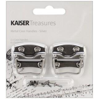 """Treasures Metal Case Handle W/1.25""""X.875"""" Backplate 2/Pkg-Antique Silver"""