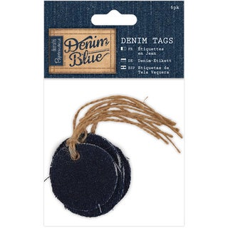 Papermania Denim Blue Tags 6/Pkg-Circle