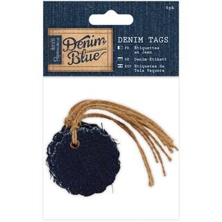Papermania Denim Blue Tags 6/Pkg-Scalloped Circle