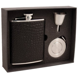 Visol Beau Monde Black Crocodile Leather Stellar Flask Gift Set - 6 ounces