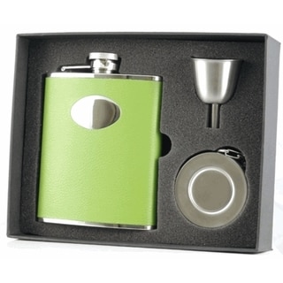 Visol Lily Pad Light Green Leather Stellar Flask Gift Set - 6 ounces