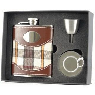 Visol Braw Plaid & Leather Stellar Flask Gift Set - 6 ounces