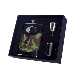 Visol GI Joe Green Camouflage Deluxe II Flask Gift Set - 8 ounces