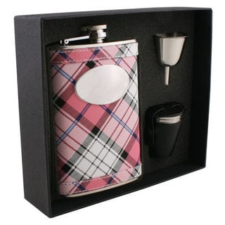 Visol Valor Pink Plaid Deluxe II Flask Gift Set - 8 ounces