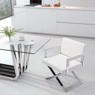 Yes White or Black Faux Leather Chromed X-Base Dining Chair