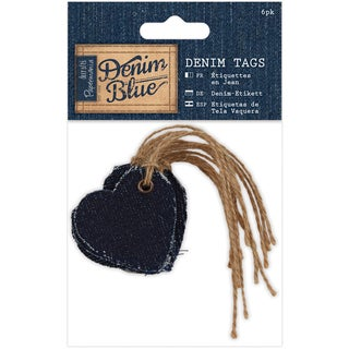 Papermania Denim Blue Tags 6/Pkg-Heart