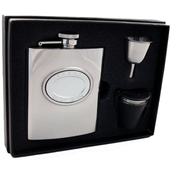 Visol 5 Stars Best Man Embossed Stainless Steel Deluxe Flask Gift Set - 8 ounces - Stainless Steel