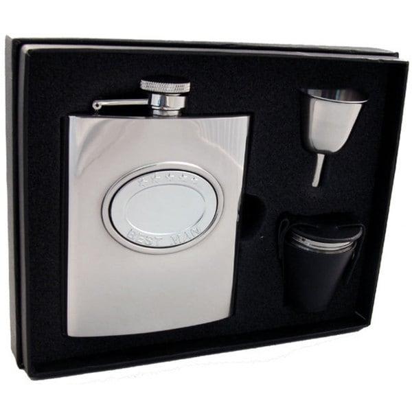 Visol 5 Stars Best Man Embossed Stainless Steel Deluxe Flask Gift Set - 8 ounces
