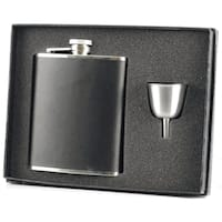 Visol Ano Black Leather Legacy Flask Gift Set - 8 ounces