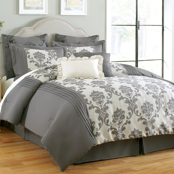 Amraupur Overseas Daniella 8-piece Grey Jacquard Comforter Set