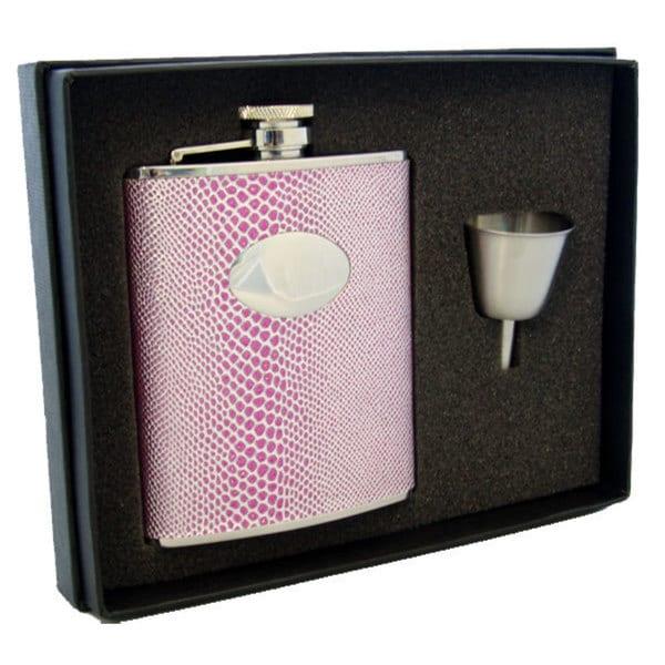 Visol Viper Pink Snake Pattern Legacy Flask Gift Set - 6 ounces - 6 oz