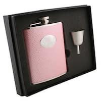 Visol Rosalyn Light Pink Snakeskin Pattern Legacy Flask Gift Set - 6 ounces