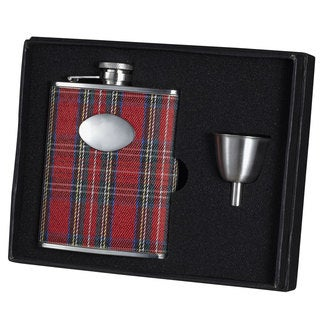 Visol Scrooge Red Plaid Legacy Flask Gift Set - 6 ounces