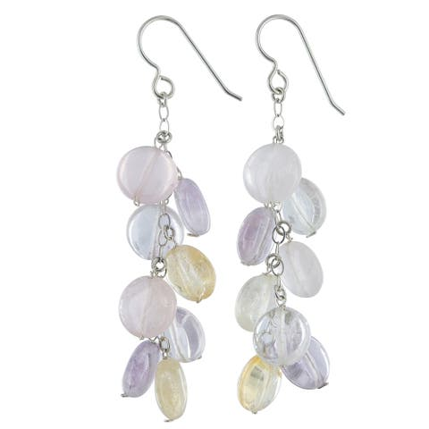 Citrine, Amethyst and Rose Quartz Gemstone Silver Chandelier Earrings