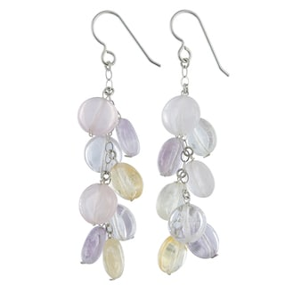Ashanti Citrine, Amethyst and Rose Quartz Gemstone Sterling Silver Handmade Chandelier Earrings