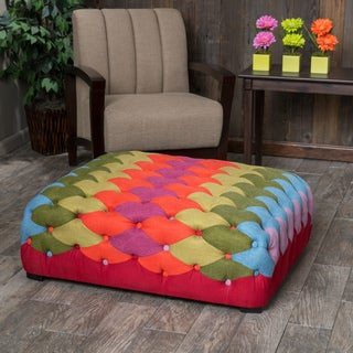 Christopher Knight Home Rainbow Tufted Fabric Ottoman