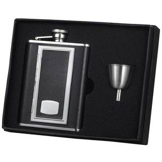 Visol SP Black Legacy Flask Gift Set with Built-In Cigarette Case - 6 ounces
