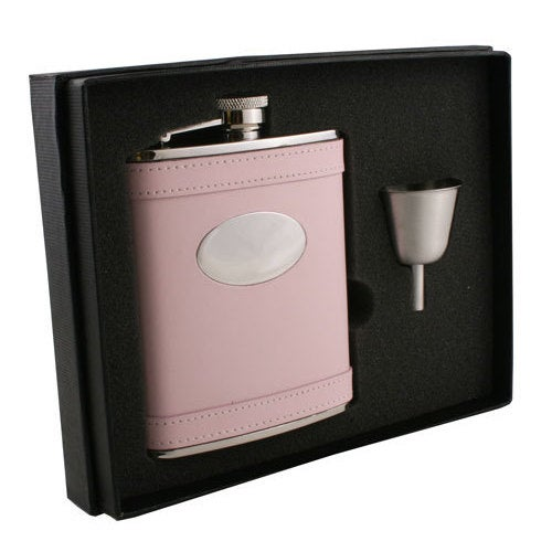 Visol Satisfaction Pink Leather Legacy Flask Gift Set - 6 ounces
