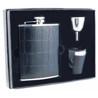 Visol Beau Monde Black Crocodile Leather Deluxe Flask Gift Set - 6 ounces