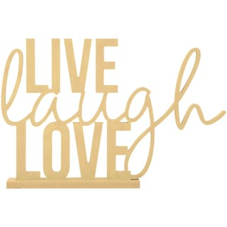 Beyond The Page MDF Live, Laugh, Love Phrase-15.5inX10.25in, W/1.5in Base