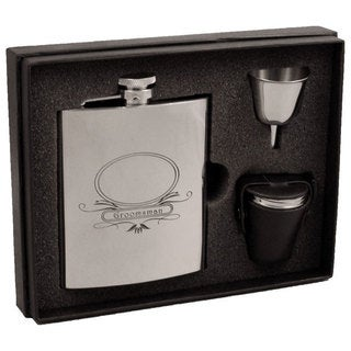 Visol Groomsman Stainless Steel Deluxe Flask Gift Set - 8 ounces