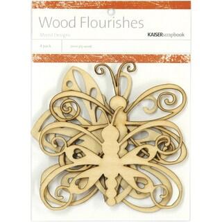 Wood Flourishes 4/Pkg-Butterflies